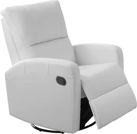 White Leather Swivel Recliner by 8084wh White Bonded Leather Swivel Glider Recliner 8084wh