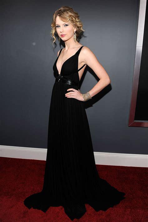 Swiftnv Dress black chiffon plunging a line evening dress grammys 2009 xdressy