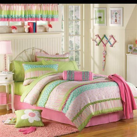 pink green ruffled girls twin complete comforter set 10