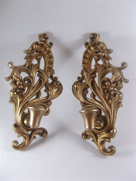 Antique Wall Sconces Wood Candle Sconce Pair Vintage Wall Mount Gilt By Acornabbey