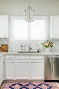 Subway Tile Backsplash Ideas For The Kitchen White Granite Kitchen Countertops With White Subway Tile