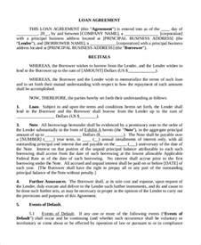 doc 500645 sample business loan agreement company loan