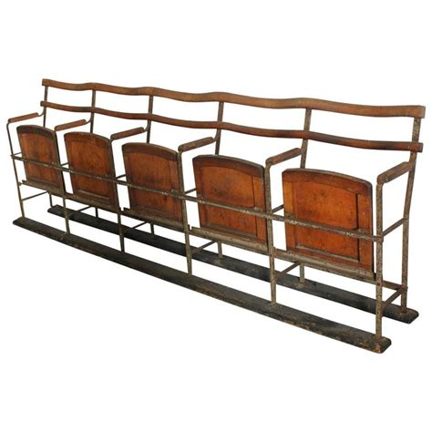 antique theater seats antique theater five seat folding bench at 1stdibs