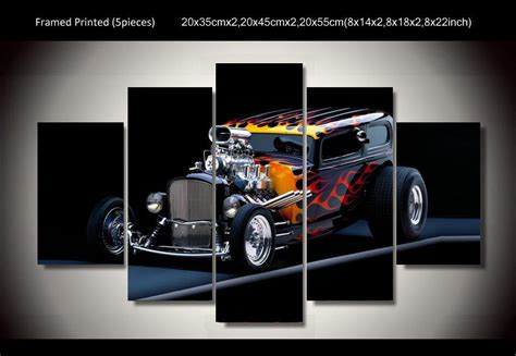 hot rod home decor framed printed hot rod car 5ps picture painting wall art
