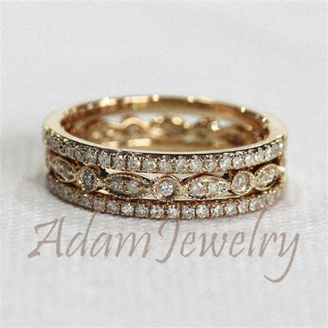 cheap deco engagement rings discount 3 half eternity bands solid 14k from adamjewelry on