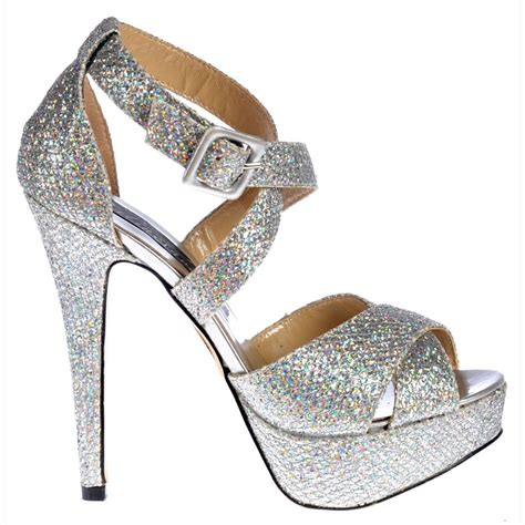High Heels Gliter Silver shoekandi strappy glitter stiletto platform high heel shoes silver shoekandi from shoekandi uk