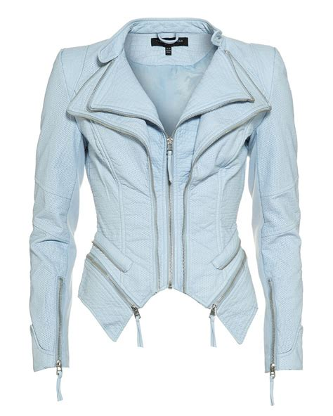 light blue leather forever unique light blue pulp faux leather jacket