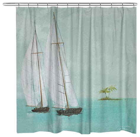Tropical Shower Curtains Tropical Sailboats Shower Curtain Tropical Shower Curtains By Laural Home