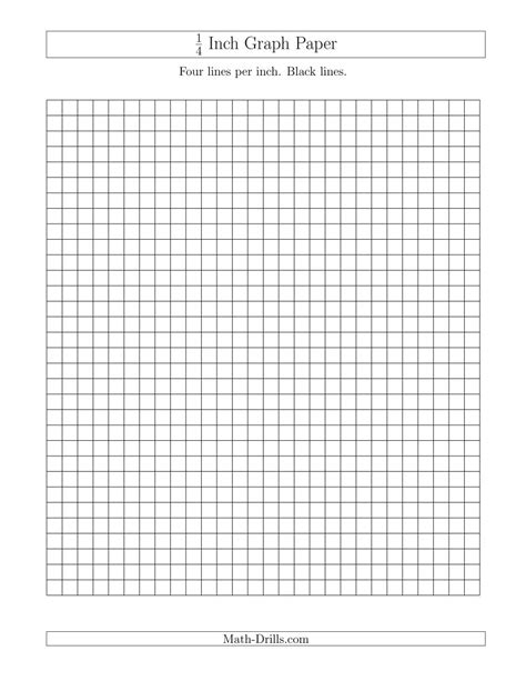 printable graph paper math drills 1 4 inch graph paper with black lines a