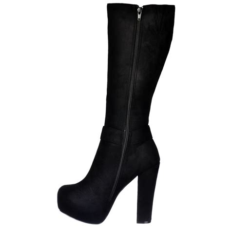 onlineshoe high heel suede knee high winter boot gold