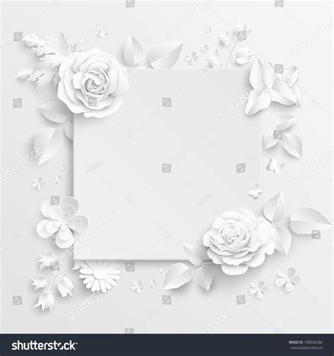 floral paper cut out card template paper flower frame white white stock vector 748596286