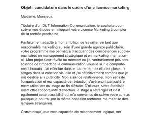 Lettre De Motivation De Licence Pro Lettre De Motivation Licence Marketing Par Lettreutile