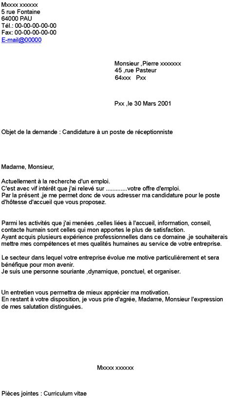 Lettre De Motivation De Receptionniste En Hotellerie Candidature 224 Un Poste De R 233 Ceptionniste