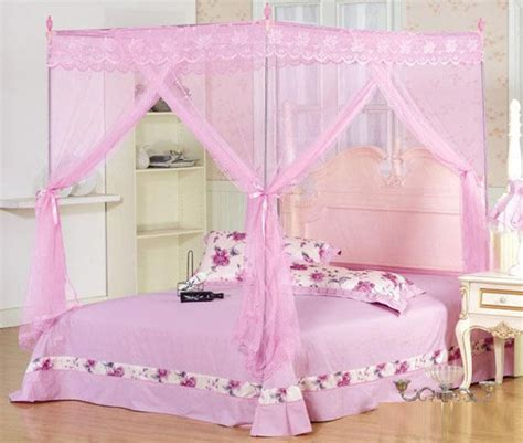 new four corner mosquito net bed canopy pink ribbon