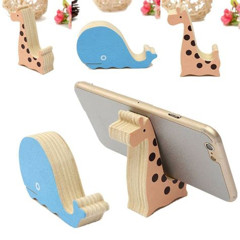 universal mini wood animal cell phone desk stand holder