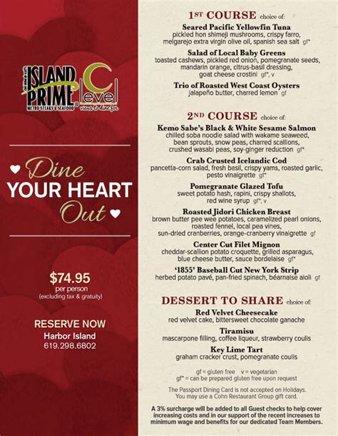 valentines day restaurant menu island prime s valentine s day menu cohn restaurant