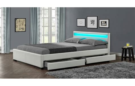 lit design cuir lit design en simili cuir blanc 160 cm avec bande led et 4 tiroirs light decome store