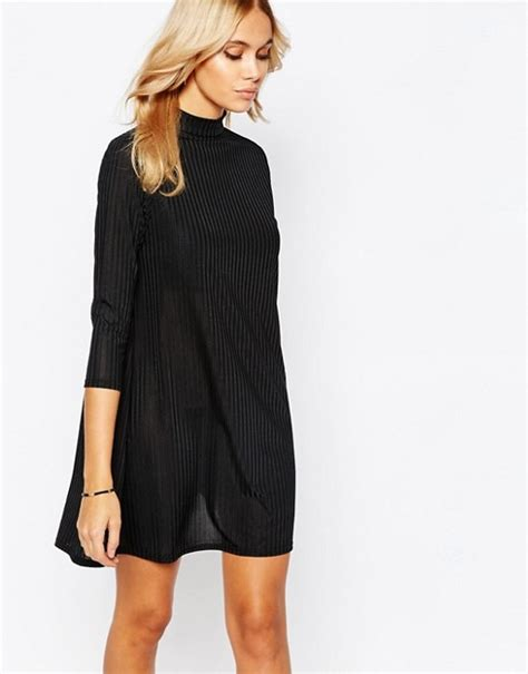 swing dress with high neck boohoo boohoo high neck ribbed swing dress