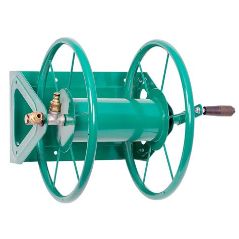 wall mounted hose reels garden metal hydrosure metal large hose reel 75m capacity green