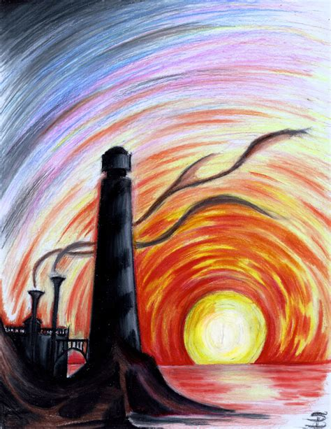 sunset colored pencil lighthouse at sunset colored pencil darkitecture