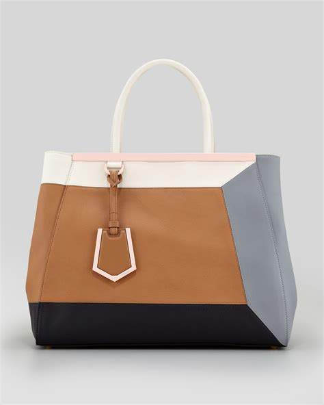 Two Tone Wool Bag With In 3 Colors lyst fendi 2jours 3d vitello colorblock medium tote bag in brown