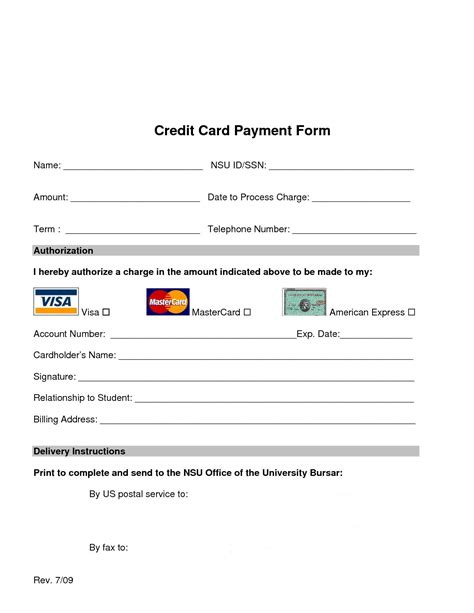 credit card payment form template excel form template credit card payment form template