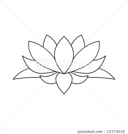 Lotus Flower Icon Outline Style Stock Illustration Lotus Flower Outline