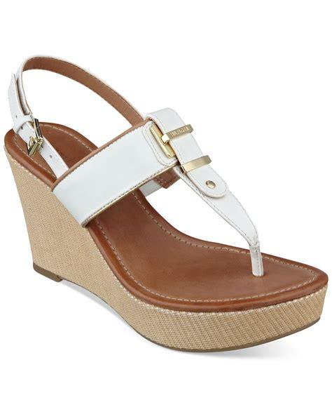 hilfiger wedge sandals hilfiger maree platform wedge sandals in white
