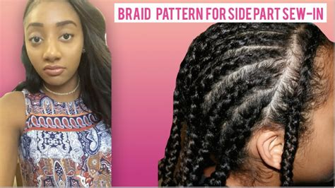 how to braid hair with middle part side part sew in braid pattern www imgkid com the