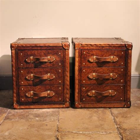 Leather Trunk Chest Of Drawers by Great Pair Of Bespoke Leather Chest Of Drawers Leather