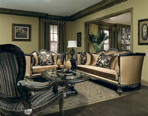 Wood Living Room Set by Veneto Carved Solid Wood High End Formal Living Room Set