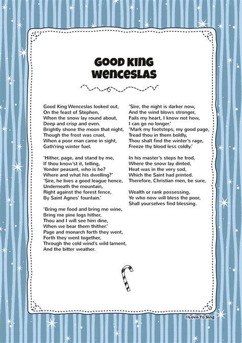 printable lyrics good king wenceslas good king wenceslas kids video song with free lyrics