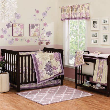 purple nursery bedding sets the peanut shell crib bedding set purple and lavender floral theme dahlia 4 baby