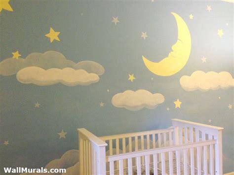 baby wall murals moon and baby nursery mural