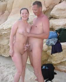 young nudist couple at beach no 01 at nudist beach