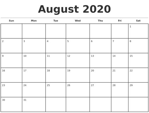 august  monthly calendar template