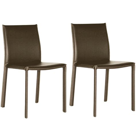 wholesale interiors set of two leather dining chairs