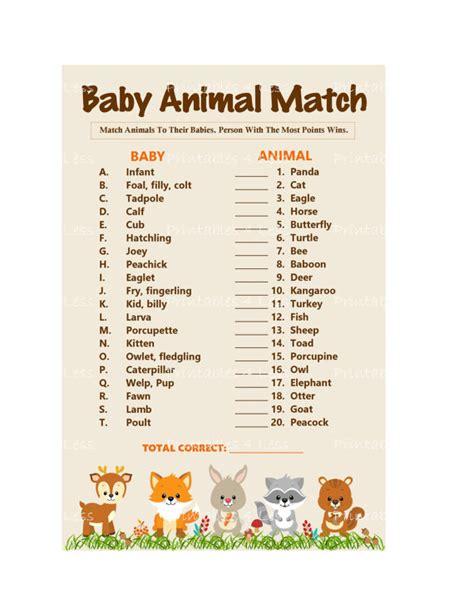 printable animal babies match game woodland baby animal match baby animals name game printable