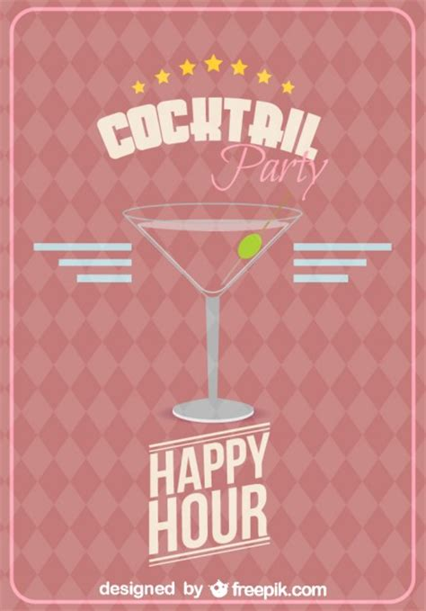 vintage cocktail party poster happy hour party poster with cocktail glass vector free
