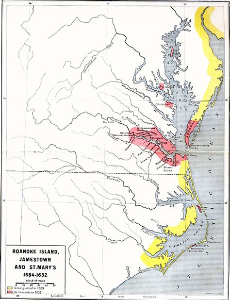 usa map jamestown roanoke island jamestown and st s