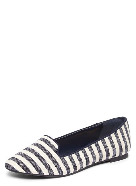 blue and white flat shoes blue and white striped pacca pumps flats shoes