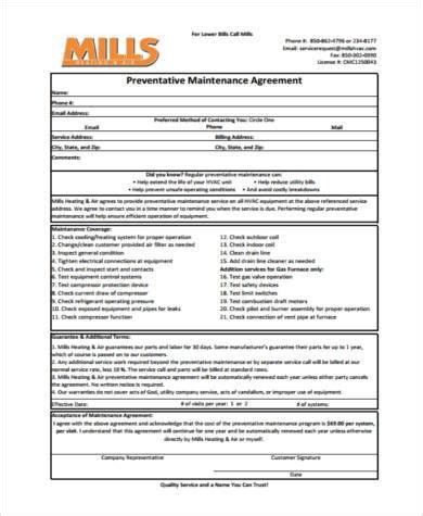 sample maintenance agreement forms   ms word