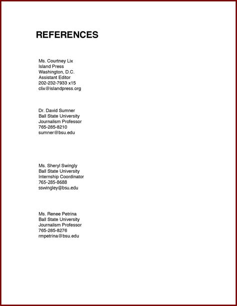 references sample how to create a reference list sheet for job