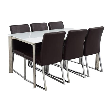 Modani Dining Table 59 Modani Modani Cameron White Glass Extendable Dining Table With Six Niero Chairs Tables