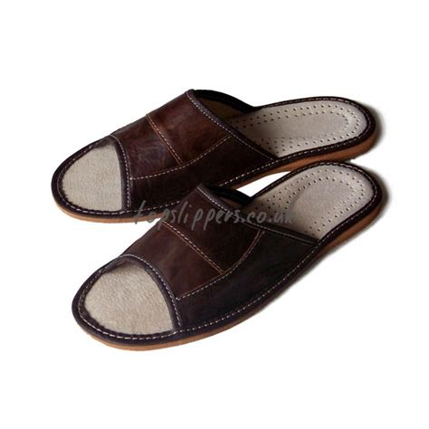 mens leather house slippers peep toe brown leather house slippers mules for men no 333f