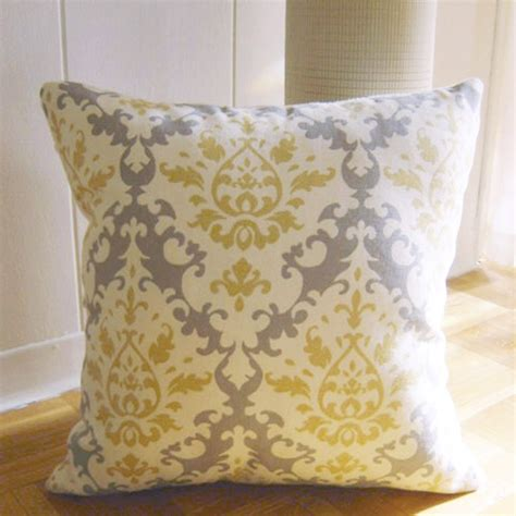 grey yellow pillows throw pillow in damask pattern yellow grey
