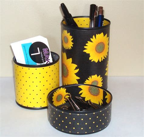 Yellow Desk Accessories Sunflower Desk Accessories Pencil Holder By Makingtimetc