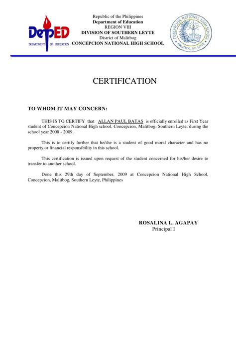 Certificate Reference Letter Heading Of Moral