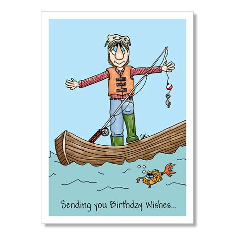 Printable Birthday Cards Fishing | birthday card for fisherman funny birthday card fisherman in