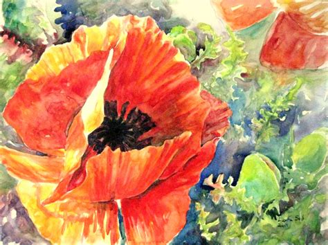 original orange poppy painting large watercolor flower